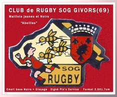 SUPER PIN'S RUGBY-ABEILLES : LE CLUB De RUGBY De GIVORS (69) SOG, Tenues JAUNES Et NOIRES (ABEILLES) 2,5X1,7cm - Rugby