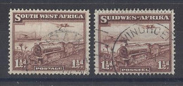 """SOUTH WEST AFRICA...KING GEORGE VI..(1936-52).."""" 1937..""""..TRAINS......1 & HALFd X PAIR OF SINGLES.... CDS.....VFU... - Africa Del Sud-Ovest (1923-1990)"""