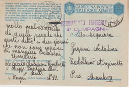 1943 POSTA MILITARE/N 93 C.2 (1.9) Su Cartolina Franchigia Segni Spillo - Marcofilía