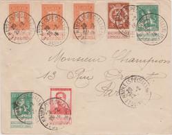 1915 BELGIO Ordinaria C.2, 10 + Due C.5 + Tre C.1 Su Busta Le Havre (25.2) - 1905 Thick Beard