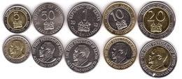 Kenya - Set 5 Coins 50 Cents 1 5 10 20 Shillings 2005 - 2010 AUNC Lemberg-Zp - Kenia