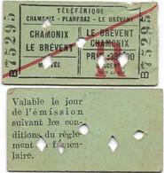 Chamonix - Ticket Pour La Montée Au Téléphérique - Chamonix / Le Brévent 1951 ( 2 Tickets ) - Tickets - Entradas