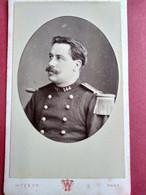 Photo CDV Militaire - Portrait Officier - Voir épaulette - Infanterie - 144 Sur Col - Photo Witz à ROUEN BE - Guerra, Militares
