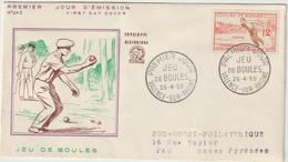 FDC FRANCE N° Yvert 1161 (BOULES) Obl Sp 1er Jour - 1950-1959