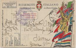 1918 VI RAGGRUPPAMENTO ALPINO/ COMANDO Tondo Su Cartolina Franchigia Posta Militare/90 C.2 (4.5) - 1900-44 Victor Emmanuel III.