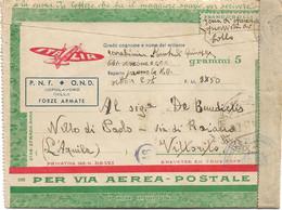 1942 BIGLIETTO SPECIALE VIA AEREA A Cura O.N.D. Non Affrancato Non Tassato Dalla Libia - Marcofilía