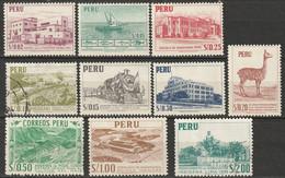 Peru 1952 Sc 457-66  Complete Set MH/used - Pérou