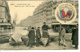 75012 - Écusson Ville De PARIS - Crue 1910 - Place Et Gare De Lyon - Canots Berthon - District 12