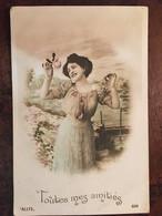 CPA De 1910, Fantaisie,Toutes Mes Amitiés ! , Femme Rose à La Main, Colorisée, éditions Allys N°608, écrite - Vrouwen