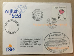 MALTA 2007 Sea Mail Cover To UK With Artemis P& O Cachet, Paquebot And Posted On Board Cachets - Malta