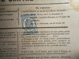 TIMBRE FISCAL 2C JOURNAUX 1869 ANNULATION TYPO SUR LA HAUTE AUVERGNE CANTAL SAINT FLOUR - Kranten