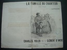 Ancienne PARTITION MUSIQUE LITHO ADAM.. La Famille Du Chanteur.. Paroles C. VOIZO, Musique C. D'ANCRE..ORGUE De BARBARIE - Partitions Musicales Anciennes