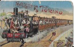 Italie ,    SALUTI  DO TORINO  LOCOMOTIVE TRAIN DE BEBE  En 1931 ( En L état ) - Otros