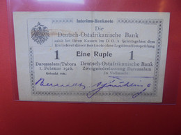 Deutsch-Ostafrika 1 Rupie 1916 AVEC SURCHARGE AU DOS Circuler (B.20) - [12] Colonie & Banche Straniere