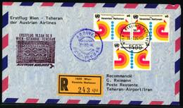 Erstflug Wien - Teheran Mit Frankatur Vereinte Nationen Wien - Poste Aérienne