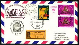 Erstflug Wien - Kairo - Kuwait Mit Frankatur Vereinte Nationen Wien - Poste Aérienne