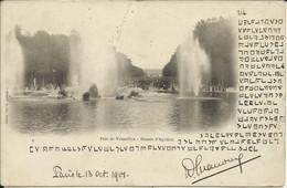 Parc De Versailles , Bassin D' Apollon , 1901 , Carte Précurseur Avec Ecriture Codée - Versailles (Castillo)