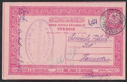 1910 17 MARCH TURKEY TURQUIE - 20 Pa PSC TARSOUS A HANNOVER - Ms Via WIEN-CONSTANTINOPLE-EREGLI - Brieven En Documenten