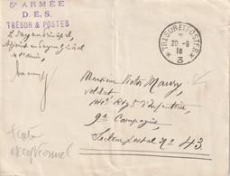 13380  TRÉSOR Et POSTES *3* - 5é ARMÉE D.E.S. - TRÉSOR&POSTES Le 20/9/16 (Pliure Verticale) - Oorlog 1914-18