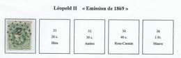 """COB 30/36 Léopold II """"Emission De 1869"""" -  Bureau De Poste De :   L 83  CINEY - 1869-1883 Leopold II"""