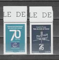 """FRANCE / 2019 / Y&T SERVICE N° 177/178 ** : CONSEIL (""""Droits De L'Homme"""", Convention 70 Ans, Palais 25 Ans) X 1 BdF Haut - Neufs"""