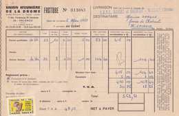 FACTURE UNION MEUNIERE DE LA DROME 1969 - VIGNETTE PROPAGANDE POUR LE PAIN - Non Classificati