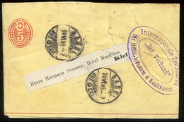 17198 Schweiz 5 Rappen GS Streifband Basel -  Kiel 1895 , Bedarfserhaltung. - Postwaardestukken
