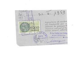 Timbre Fiscal Pour Passeport 3200 Francs, 1959 - Revenue Stamps
