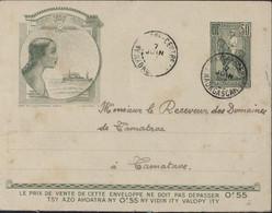 Entier Enveloppe Gallieni Femme Et Bateau TSF CAD Ankazobe Centre Madagascar 7 Juin 37 Arrivée Tamatave 11 6 37 - Brieven En Documenten
