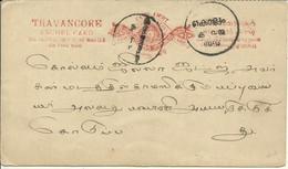 1892  Travancore Anchel Card - Travancore
