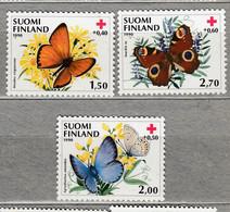 FINLAND  Fauna Insects Butterlies 1990 Mi 1110-1112 MNH(**) #25165 - Ongebruikt