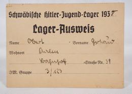 Lager-Ausweis Der Schwäbischen Hitler-Jugend HJ 1938 Gruppe 3/123 - Documenti