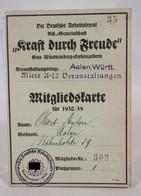 Die Deutsche Arbeitsfront NS Gemeinschaft Aalen Württemberg Mitgliedskarte 1938/39 Nr. 303 - Documenti