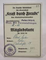 Die Deutsche Arbeitsfront NS Gemeinschaft Aalen Württemberg Mitgliedskarte 1938/39 Nr. 305 - Documenti