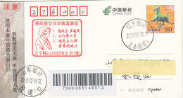 China 2020, COVID-19 Liaoning Local Postal Used Registered Post Card, Arrival Chop On Front - Brieven En Documenten