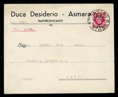 1950, Italenisch Eritrea Britische Militärpost, 21, Brief - Non Classés