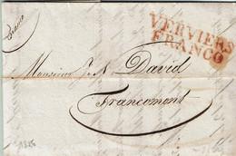 LAC De VERVIERS Du 26 JUILLET 1826 à FRANCOMONT + Griffe Rouge VERVIERS FRANCO + Griffe Manuscrite FRANCO - 1815-1830 (Holländische Periode)