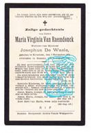 DP Maria Virginia Van Raemdonck ° Elversele Temse 1812 † Hamme 1893 X Josephus De Waele - Andachtsbilder