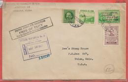 ROTARY VIGNETTE DE CUBA LETTRE RECOMMANDEE DE 1940 DE LA HAVANE POUR TULSA ETATS UNIS - Rotary, Lions Club