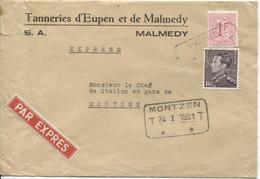 REF1983/TP 848A Poortman+TP S/L.Tanneries Eupen&Malmedy Exprès C.T.T. Malmedy 24/1/61 > Montzen C.T.T.Montzen En Arrivée - Belgium