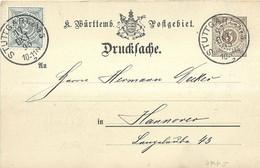 "9455""KONIGREICH WUERTTEMBERG POFTEGEBIET-DRUCKSACHE"" -CARTOLINA SPEDITA 15/10/1895 - Wurtemberg"