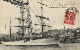 ROUEN - LA MISSION CHARCOT - 5 JUIN 1910 - LE POURQUOI PAS PASSANT LE TRANSBORDEUR - Rouen