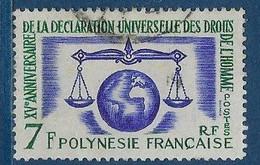 """Polynésie YT 25 """" Droits De L'Homme """" 1963 Oblitéré - Polinesia Francese"""