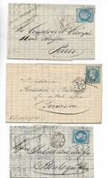 Ferroviaire Ambulant Nuit STRASBOURG 2° Brigade B / D / G Sur Empire 20c Lauré 1868/69/70 ...G - Poste Ferroviaire
