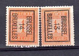 Belgique Préoblitéré N° 108 Brussel 14 Bruxelles 2 Timbres Lot 102 - Typo Precancels 1912-14 (Lion)