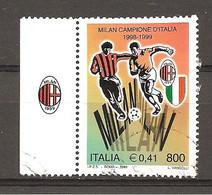 ITALIA - 1999 MILAN Campione D'Italia Di Calcio - Francobollo Con Bandella Usato - Club Mitici