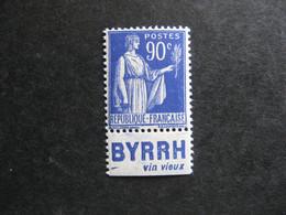"""TB N° 368a, Neuf XX. Avec PUB Inférieure """" BYRRH """". - Advertising"""