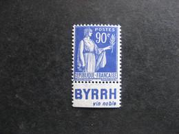 """A). TB N° 368a, Neuf XX. Avec PUB Inférieure """" BYRRH """". - Advertising"""