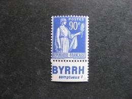 """B). TB N° 368a, Neuf XX. Avec PUB Inférieure """" BYRRH """". - Publicités"""