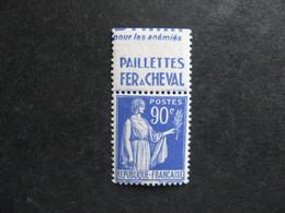 "TB N° 368a, Neuf XX. Avec PUB Supérieure "" Fer à Cheval "". - Advertising"